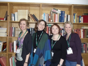 My encouraging retreat critique group--Ann Finkelstein, Anna Boll, me and Lori Steel