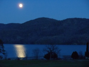 Moon over Lake George in Silver Bay, NY