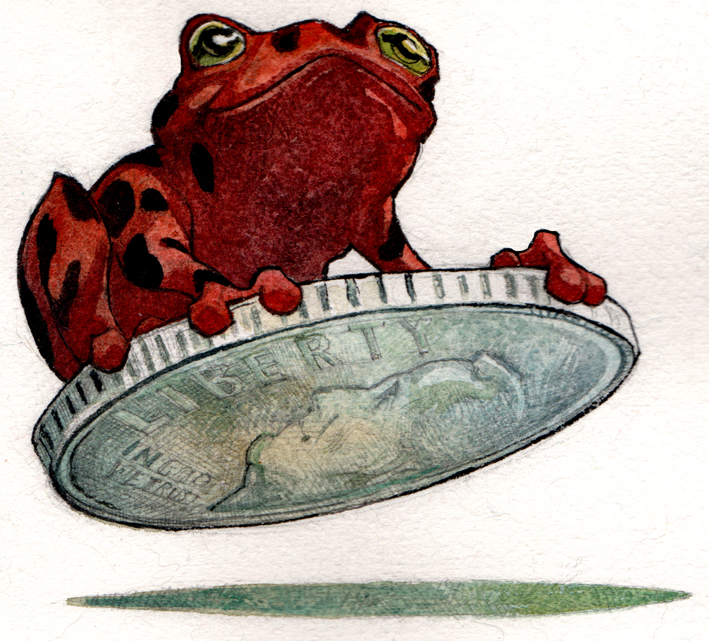 frog on a dime color RED 2a